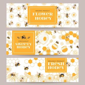 Banners de mel. negócios promovem panfleto com vários produtos de apicultura, favo de mel e mel em potes, cera de abelha, abelhas e flores, conjunto de vetores. ilustração de abelha e cartão de apicultura