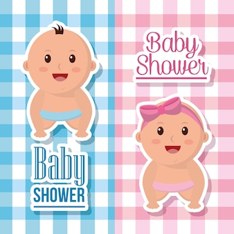 Banners de menino e menina de chuveiro de bebê