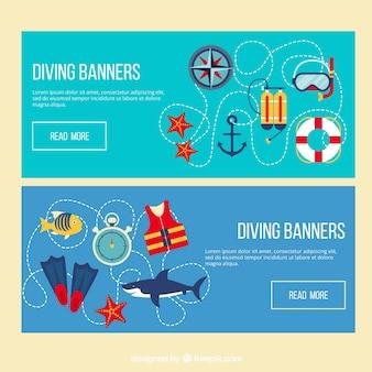 Banners de mergulho com elementos de design plano