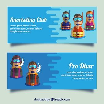 Banners de mergulho com mergulhadores em estilo moderno