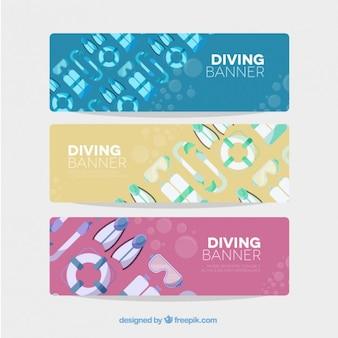 Banners de mergulho originais com utensílios