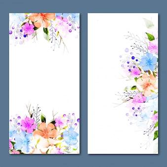 Banners de mídia social com decoração de flores coloridas.