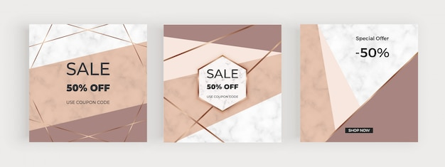 Banners de mídia social com desenho geométrico com nuas, marrons formas triangulares, linhas douradas.