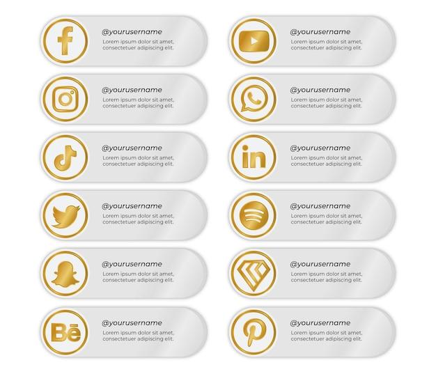 Banners de mídia social com ícones dourados