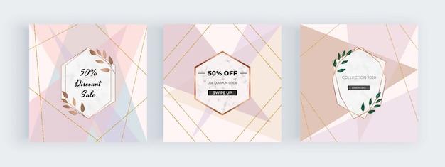 Banners de mídia social com linhas geométricas de rosa pastel, nude e ouro glitter e moldura de mármore