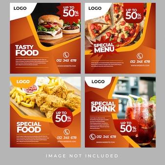Banners de mídia social de alimentos
