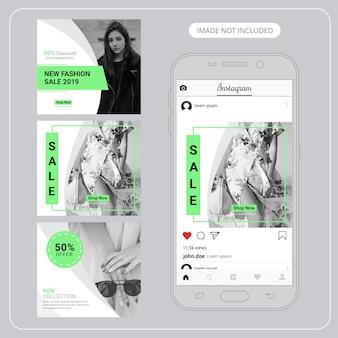 Banners de mídia social de moda para marketing digital