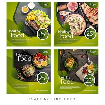 Banners de mídia social de restaurante de comida