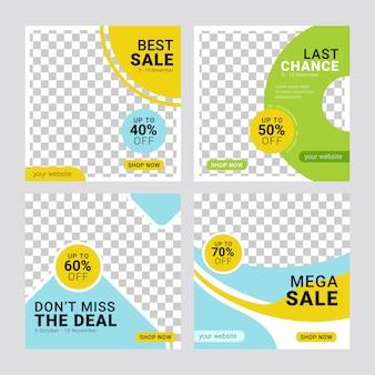 Banners de mídia social de venda de moda postar modelo conjunto