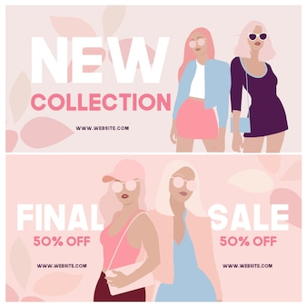 Banners de mídia social de venda de moda