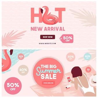 Banners de mídia social de venda de verão