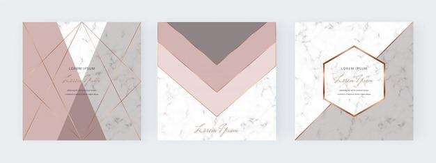Banners de mídia social geométrica com formas de triângulos nus, cinza e linhas de ouro sobre a textura de mármore.
