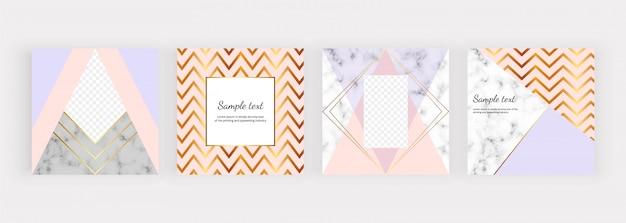 Banners de mídia social geométrica com triângulos, linhas douradas.