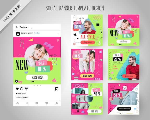 Banners de mídia social linda moda para marketing digital