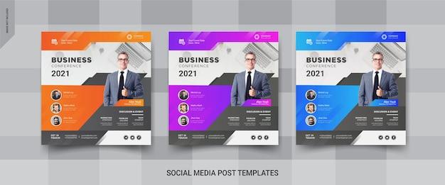 Banners de mídia social para conferências de negócios corporativos
