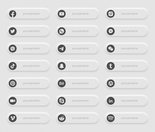 Banners de mídia social popular inferior terço ícones
