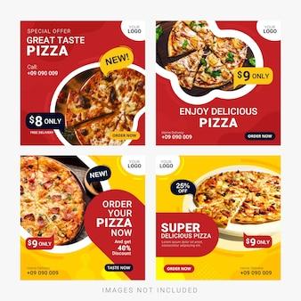 Banners de mídias sociais de comida postar modelo conjunto