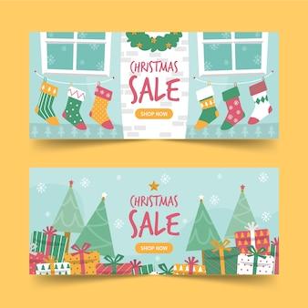 Banners de modelo da web para venda de natal