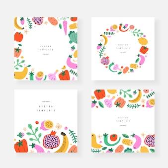Banners de modelo de frutas e vegetais
