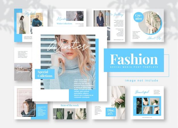 Banners de modelo de moda azul mídia social post