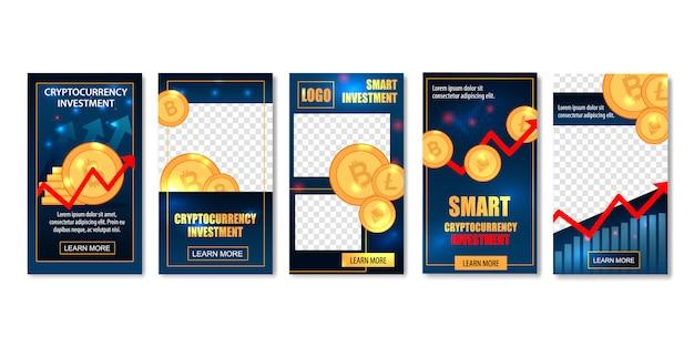 Banners de modelos de investimento de criptografia inteligente.