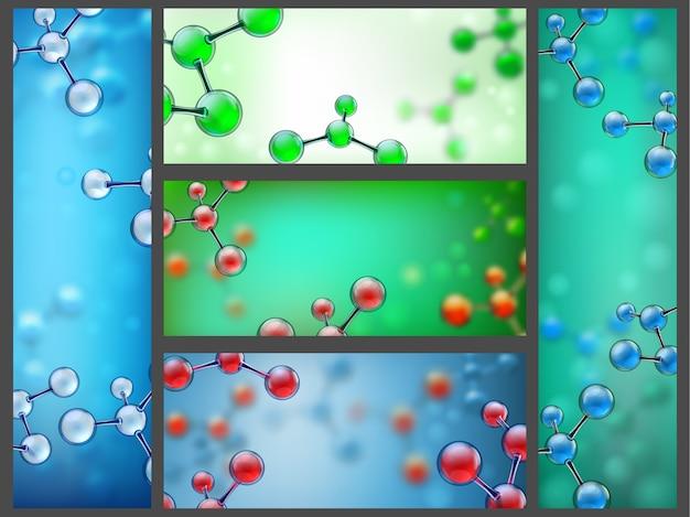 Banners de moléculas abstratas.