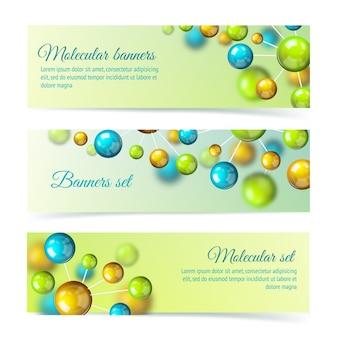 Banners de moléculas coloridas conjunto 3d