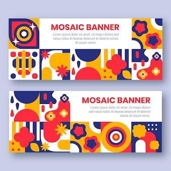 Banners de mosaico colorido de design plano