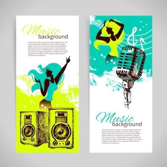 Banners de música com ilustração de mão desenhada e silhueta de garota de dança. design retro do splash blob