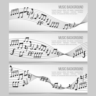 Banners de música vector conjunto com notas e onda sonora