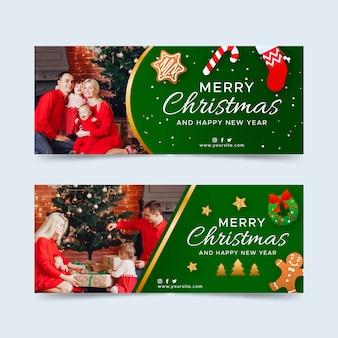 Banners de natal com conjunto de foto