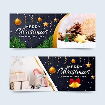 Banners de natal com conjunto de imagens