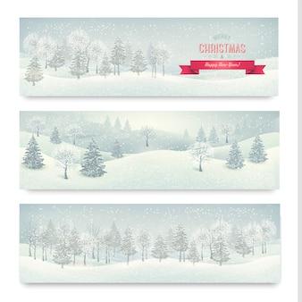 Banners de natal com paisagem de inverno