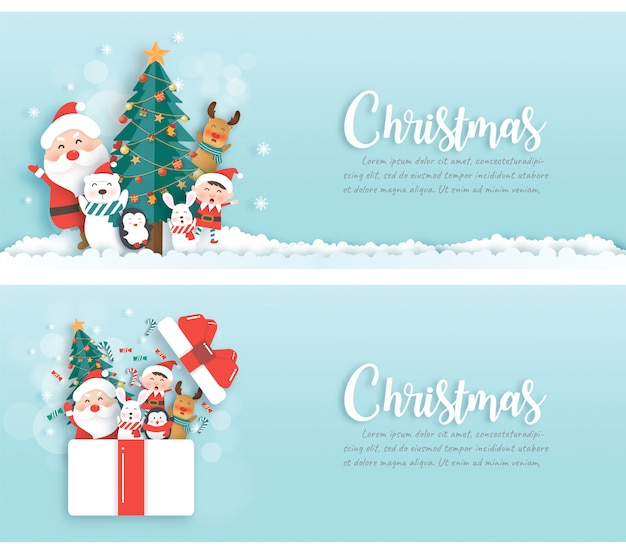 Banners de natal com papai noel e amigos no estilo de corte e artesanato de papel.