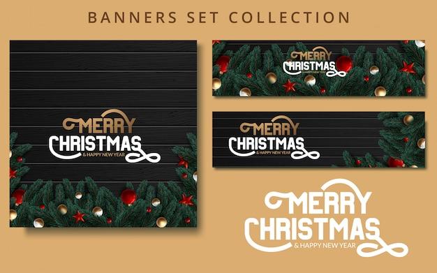 Banners de natal conjunto com ramos de abeto, decorados com fitas