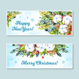 Banners de natal conjunto estilo aquarela