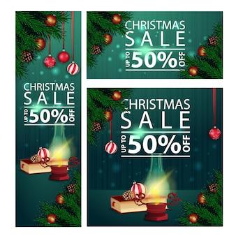 Banners de Natal de desconto horizontal, vertical e quadrado com lâmpada antiga