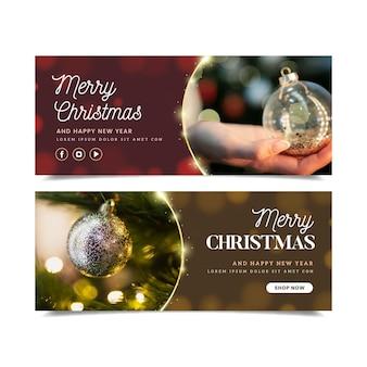 Banners de natal de design plano com conjunto de fotos