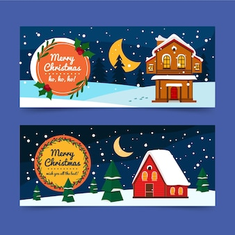 Banners de natal de design plano ilustrados