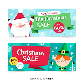 Banners de natal de venda grande design plano