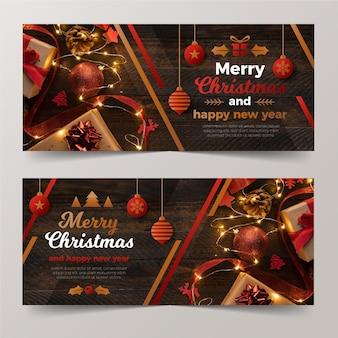 Banners de natal e feliz ano novo