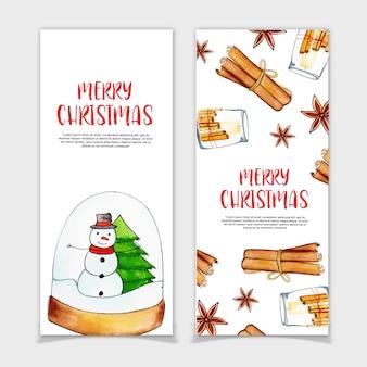 Banners de Natal em aquarela