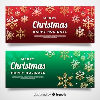 Banners de natal em design plano
