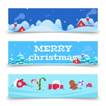 Banners de natal. fundo de natal com neve, casas, doces. banners de férias de inverno dos desenhos animados. casa de natal, inverno, ilustração de natal com neve