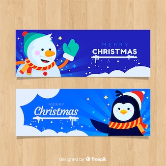 Banners de natal linda em design plano