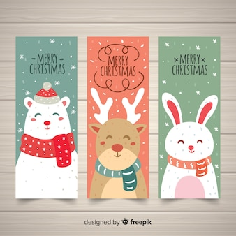 Banners de natal linda mão desenhada