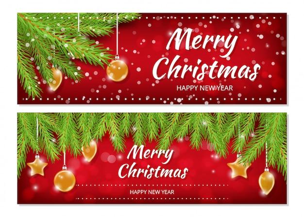Banners de natal. modelo de folhetos de ano novo de natal. fundo de férias com galhos de pinheiros realistas, queda de neve, bola de vidro