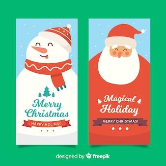 Banners de natal plana com papai noel e boneco de neve
