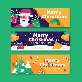 Banners de natal planos com o papai noel