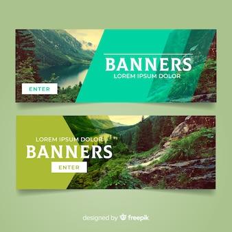Banners de natureza moderna com foto